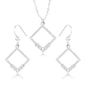 Set náhrdelníku a náušnic - stříbro 925, kontura kosočtverce, čiré zirkony, vroubky