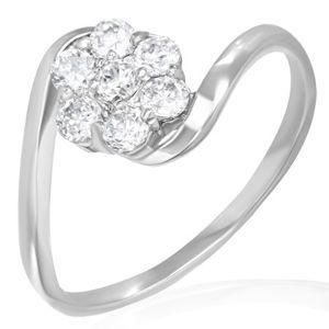 Snubní prsten - duhový kvítek ze zirkonů - Velikost: 59