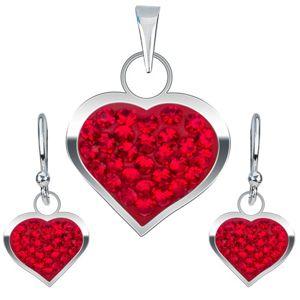 Stříbrná sada 925, náušnice a přívěsek, červené zirkonové srdce