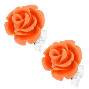 Stříbrné 925 náušnice, růže v rozkvětu, puzetové zapínání
