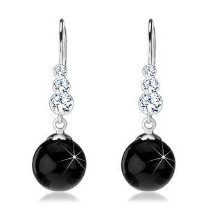 Stříbrné náušnice 925, čiré kulaté krystaly Swarovski, černá perla, afro háček
