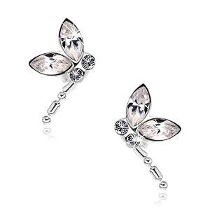 Stříbrné náušnice 925, letící vážka, čiré krystaly Swarovski, visící ocas