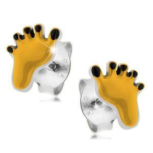 Stříbrné náušnice 925, žlutý otisk chodidla s černými prsty