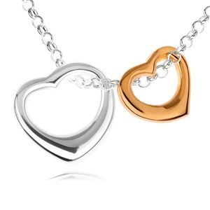 Stříbrný 925 náhrdelník - dvě kontury srdcí ve stříbrném a zlatém provedení