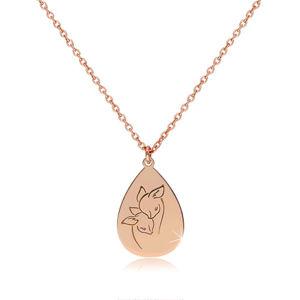 Stříbrný 925 náhrdelník měděné barvy - lesklá slza s vyobrazenými srnkami