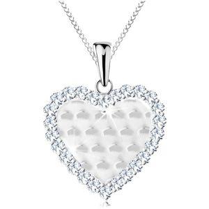 Stříbrný 925 náhrdelník, srdíčko s blýskavými obloučky a s čirým lemem