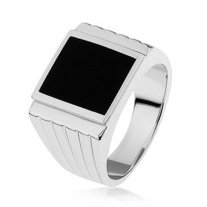 Stříbrný 925 prsten, černý obdélník, rýhy na ramenech - Velikost: 66