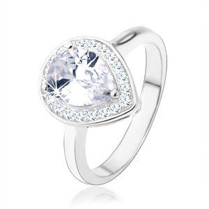 Stříbrný 925 prsten, čirá kapka - zirkon, třpytivý lem, výřezy - Velikost: 55