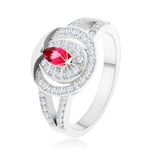 Stříbrný 925 prsten, čirá zirkonová obroučka s růžovým zirkonem - Velikost: 52