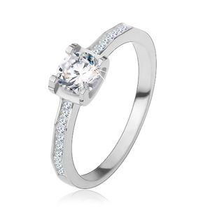 Stříbrný 925 prsten, lesklá ramena, kulatý broušený zirkon - Velikost: 49