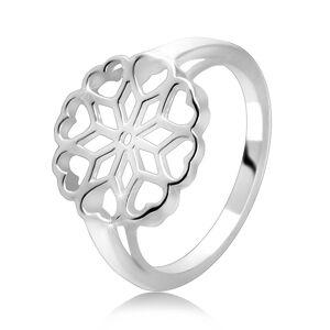 Stříbrný 925 prsten - vyřezávaný květ, srdíčkovité okvětní lístky - Velikost: 49