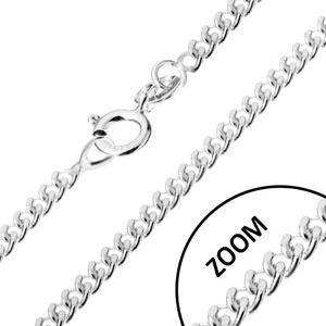 Stříbrný 925 řetízek, zatočená kulatá očka, šířka 1,4 mm, délka 460 mm