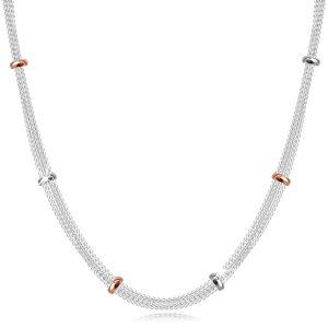 Stříbrný 952 náhrdelník - řetízky bodově pospojované stříbrnými a růžovozlatými korálky