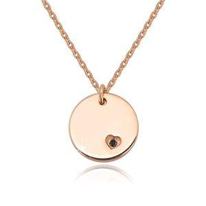 Stříbrný náhrdelník 925 - kruhová známka, černý diamant v srdíčkovém zářezu