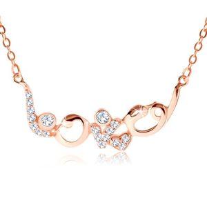 """Stříbrný náhrdelník 925 měděné barvy, blyštivý nápis """"love"""", zirkony"""