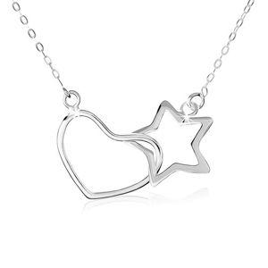 Stříbrný náhrdelník 925, oválná očka řetízku, obrys hvězdy a srdce