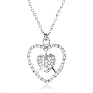 Stříbrný náhrdelník 925, srdce a kontura srdce s čirými zirkony
