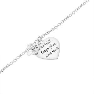 Stříbrný náramek 925, čtyřlístek se zirkonem, ploché srdce s nápisem