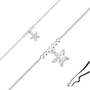 Stříbrný náramek 925 na nohu - hvězdička se zirkony, lesklé kuličky, hranatý řetízek