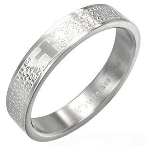 Stříbrný ocelový kroužek na prst s modlitbou a křížem - Velikost: 57