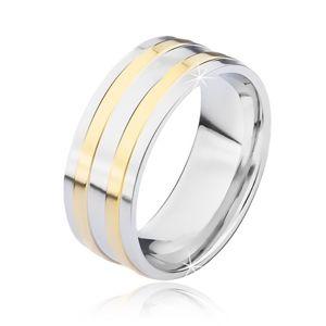 Stříbrný ocelový prsten se dvěma úzkými zlatými pásy - Velikost: 70