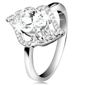 Stříbrný prsten 925, kontura čirého lístku s velkým oválným zirkonem - Velikost: 47