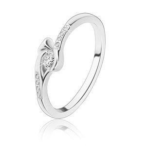 Stříbrný prsten 925 - kulatý čirý zirkon, úzká ramena se zirkony, šíp - Velikost: 59