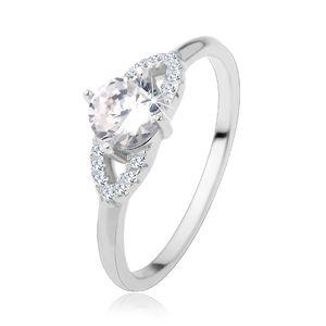 Stříbrný prsten 925, lesklá ramena, čirý zirkon, třpytivá kontura - zrnko - Velikost: 60