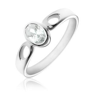 Stříbrný prsten 925 - oválný čirý zirkon, ramena se slzičkami - Velikost: 58