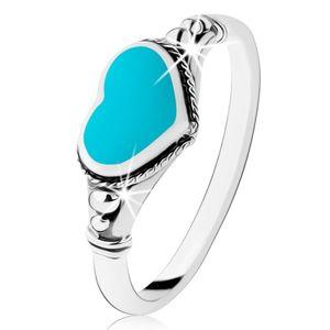 Stříbrný prsten 925, patinovaný, srdíčko z tyrkysu, kuličky - Velikost: 60