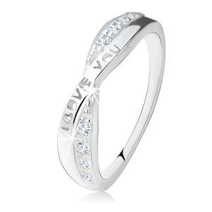 """Stříbrný prsten 925, překřížená ramena, zirkony, nápis """"I LOVE YOU"""" - Velikost: 56"""