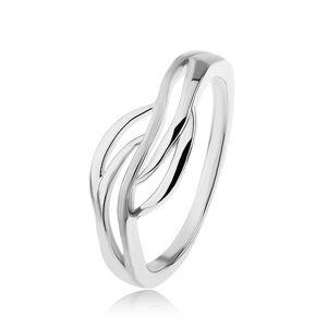 Stříbrný prsten 925, široký střed - hladké obrysy vln, vysoký lesk - Velikost: 55