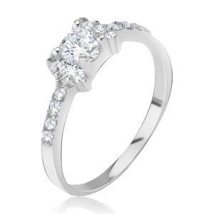 Stříbrný prsten 925 - vykládaná mašlička, blyštivé čiré zirkony - Velikost: 62