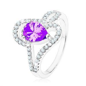 Stříbrný prsten 925, zirkon tanzanitové barvy - slza, propletené linie - Velikost: 54
