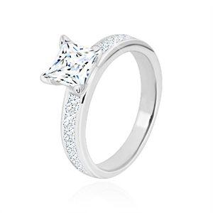 Stříbrný prsten 925 - zirkonový čtverec čiré barvy v kotlíku, třpytivá ramena - Velikost: 60