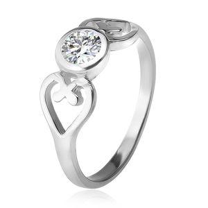 Stříbrný prsten, obrysy srdcí, čirý okrouhlý zirkon v objímce, stříbro 925 - Velikost: 51