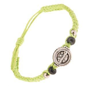 Světle zelený zaplétaný šňůrkový náramek, kruhová známka s kuličkami