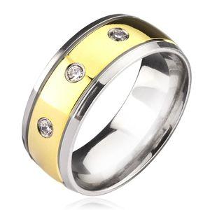 Titanový prsten - dvoubarevný se zirkony - Velikost: 67