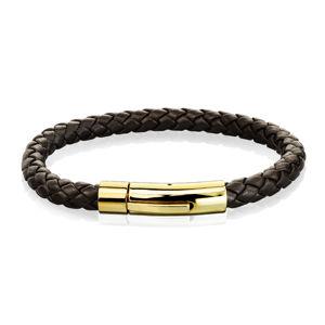Tmavohnědý kožený náramek, vzor pletenec - ocelové zapínání ve zlatém odstínu - Délka: 190 mm