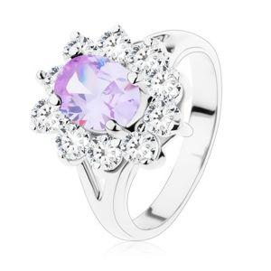 Třpytivý prsten s rozdělenými rameny, broušené zirkony ve světle fialové a čiré barvě - Velikost: 52