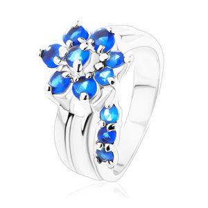 Třpytivý prsten s rozdělenými rameny, zirkonový květ v modrém odstínu - Velikost: 49