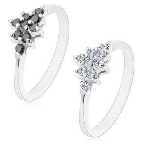 Třpytivý prsten s úzkými rameny, stříbrný odstín, broušené kulaté zirkony - Velikost: 53, Barva: Černá