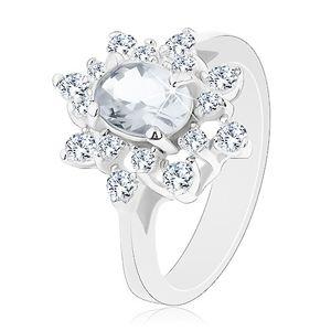 Třpytivý prsten se stříbrným odstínem, květ s čirými zirkony - Velikost: 52