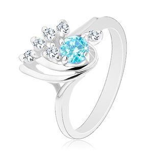 Třpytivý prsten - slza s hladkými obloučky, modrý kulatý zirkon, čirá linie - Velikost: 55