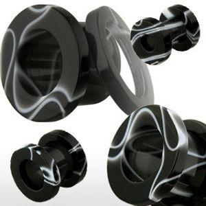 Tunel do ucha z akrylu, černý s bílým mramorovým vzorem - Tloušťka : 8 mm, Barva piercing: Černá