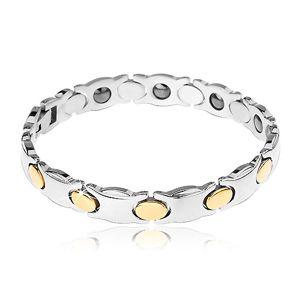 Užší ocelový náramek, stříbrná barva, ovály ve zlatém odstínu, magnety