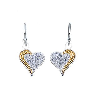 Visací stříbrné náušnice 925 - zirkonové srdce, zlatý točitý pás