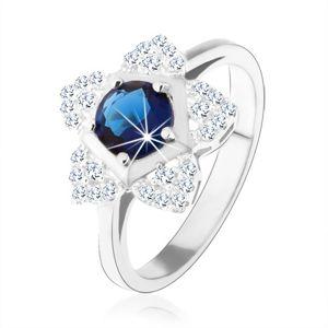 Zásnubní prsten, stříbro 925, blyštivý kvítek, kulatý modrý zirkon - Velikost: 49