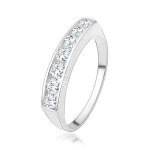 Zásnubní prsten ze stříbra 925 se vsazenou linií čirých zirkonů - Velikost: 53