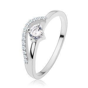 Zásnubní prsten ze stříbra 925, tenká ramena, zvlněná blýskavá linie, zirkon - Velikost: 56